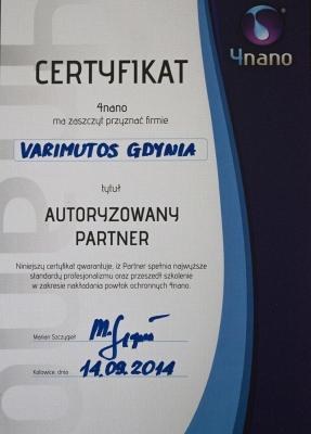 Certyfikat 4Nano Varimutos