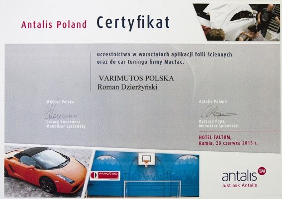 Certyfikat Antalis Varimutos